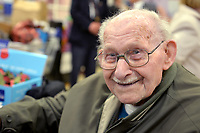 Pictured: Ron Jones at the launch of the Gwent County Royal British Legion Poppy Appeal at Tesco Spytty. STOCK PICTURE<br /> Re: The oldest poppy seller has died at the age of 102.<br /> Ron Jones, of Bassaleg near Newport, south Wales, was detained at Auschwitz concentration camp from October 1943 until January 1945 after being captured in Benghazi, Libya.<br /> He worked at the IG Farben chemical factory from 6am until 6pm, six days a week and now travels by car to share his haunting memories with school children up and down the county.