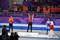 OLYMPIC GAMES: PYEONGCHANG: 15-02-2018, Gangneung Oval, Long Track, 10.000m Men, Final results, Jorrit Bergsma (NED), Ted-Jan Bloemen (CAN), Nicola Tumolero (ITA), ©photo Martin de Jong