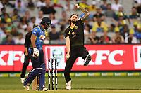 1st November 2019; Melbourne Cricket Ground, Melbourne, Victoria, Australia; International T20 Cricket, Australia versus Sri Lanka; Kane Richardson of Australia bowls - Editorial Use