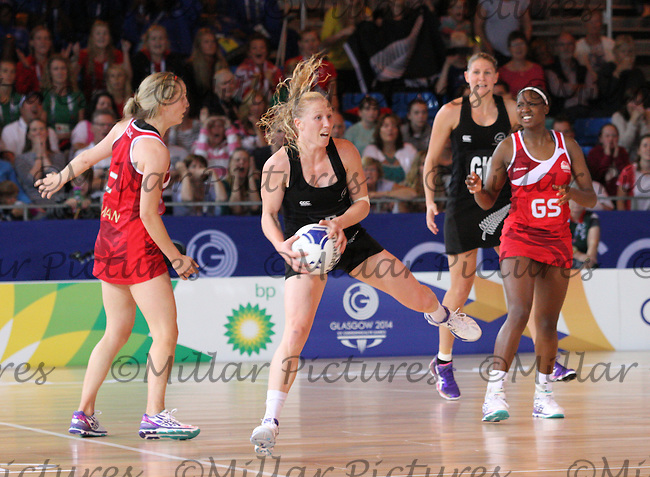 Laura Langman of Team New Zealand against Team England in the Netball Semi Final for the 20th Commonwealth Games, Glasgow 2014 at the Scottish Exhibition and Conference Centre, Glasgow on 2.8.14.