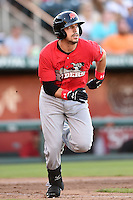 Frisco Rough Riders outfielder Jake Skole (5) runs to first during a game against the Springfield Cardinals on June 1, 2014 at Hammons Field in Springfield, Missouri.  Springfield defeated Frisco 3-2.  (Mike Janes/Four Seam Images)