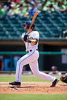 Montgomery Biscuits first baseman Grant Kay (6) follows through on a swing during a game against the Mississippi Braves on April 25, 2017 at Montgomery Riverwalk Stadium in Montgomery, Alabama.  Mississippi defeated Montgomery 3-2.  (Mike Janes/Four Seam Images)