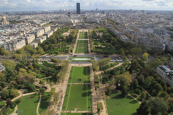 View from Eiffel Tower of Montparnasse building and the Parc du Champ de Mars Paris, France .  John offers private photo tours in Denver, Boulder and throughout Colorado, USA.  Year-round. .  John offers private photo tours in Denver, Boulder and throughout Colorado. Year-round.