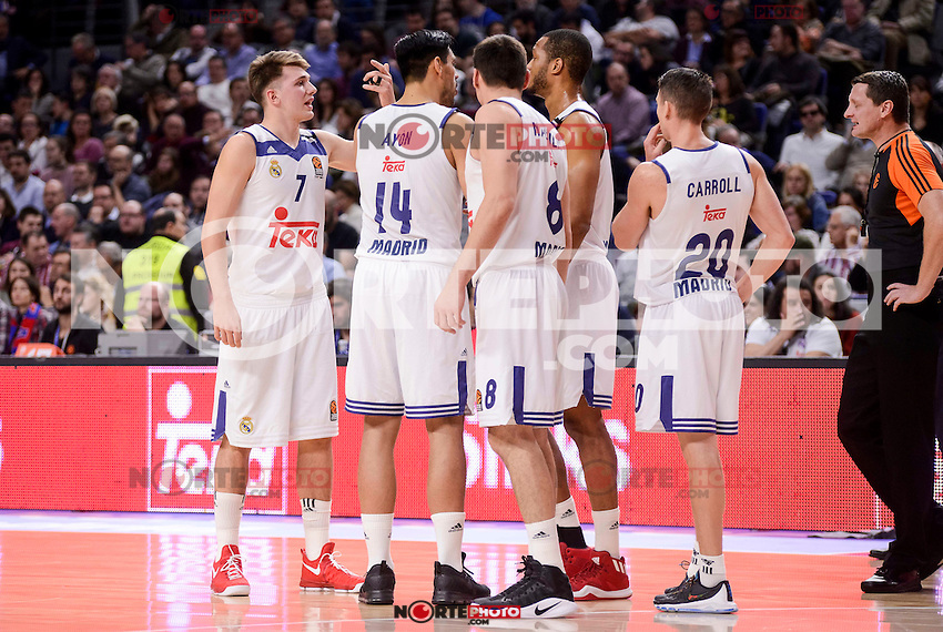 Real Madrid's Luka Doncic, Gustavo Ayon, Jonas Maciulis, Anthony Randolph and Jaycee Carroll during Turkish Airlines Euroleague match between Real Madrid and CSKA Moscow at Wizink Center in Madrid, Spain. January 06, 2017. (ALTERPHOTOS/BorjaB.Hojas)