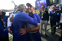 30th September 2018, National Golf Centre, Guyancourt, Yvelines department in the Île-de-France,  north-central France; 42nd Ryder Cup tournament, Europe versus USA;  Francesco Molinari of Italy (Team Europe) and Tommy Fleetwood of England (Team Europe)