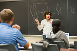 Julie Anderson, lecturer in Mathematic, instructs her Business Calculus class.   Photo by Kevin Bain/University Communications Photography