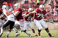 Stanford, CA - November 5, 2016: Christian McCaffrey and Jesse Burkett during  the Stanford vs Oregon State game at Stanford Stadium Saturday. <br /> <br /> Stanford won 26-15.