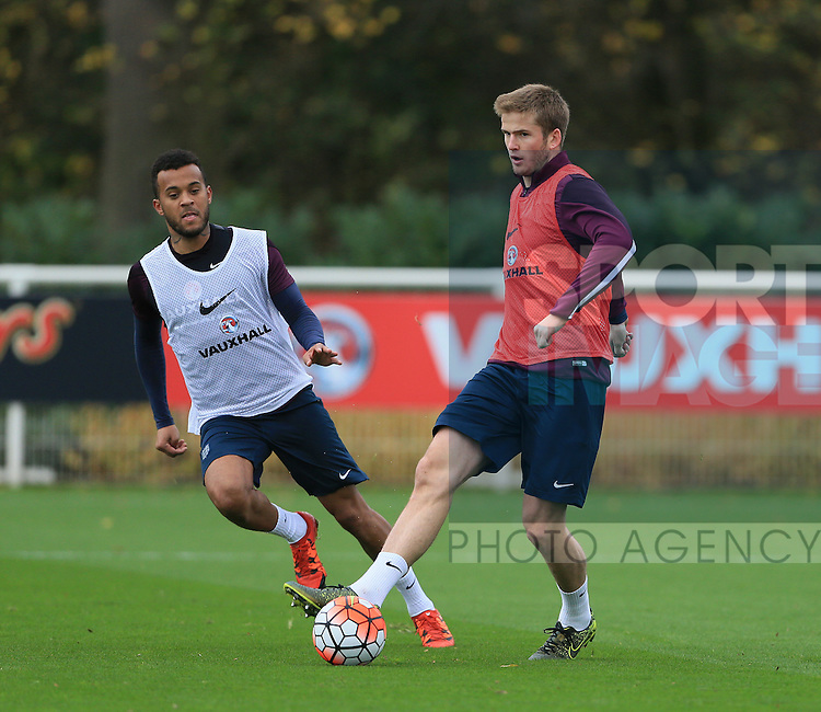 England's Eric Dier tussles with Ryan Bertrand during training<br /> <br /> England Training - Tottenham Hotspur Training Ground - England - 16th November 2015 - Picture David Klein/Sportimage