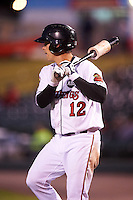 Rochester Red Wings catcher John Ryan Murphy (12) on deck during a game against the Columbus Clippers on June 14, 2016 at Frontier Field in Rochester, New York.  Rochester defeated Columbus 1-0.  (Mike Janes/Four Seam Images)