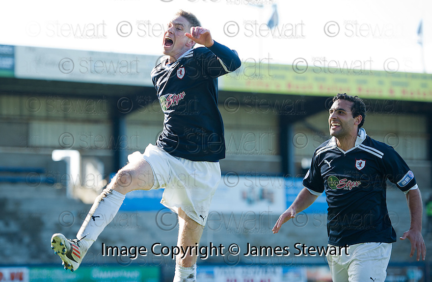 Pat Clarke celebrates after he scores Raith's third.