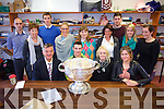 Kerry Star Shane Enright  with the Sam Maguire cup arrived at St. Joseph's Secondary School Ballybunion  on Tuesday. Pictured front l-r  Gavin Daly, Shane Enright,  Ann Cummins, Michelle Costello Back l-r  Thomas Ladden, Maria O'Donovan,  John O'Donovan, Alice O'Riordan, Claire Mulvihill, Siobhan Hayes, Jamie Culloty, Marina Mulvihill, Sarah Creedon