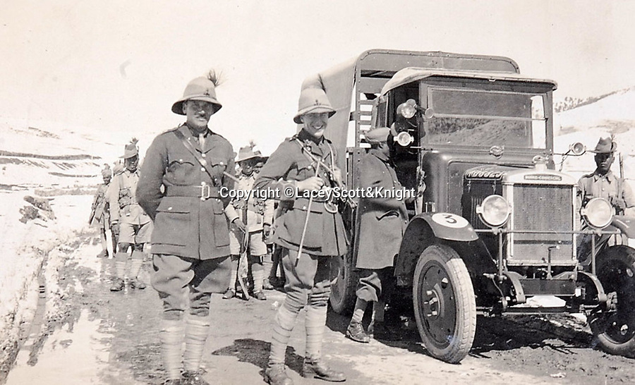 BNPS.co.uk (01202 558833)<br /> Pic: LaceyScott&Knight/BNPS<br /> <br /> The British deployed the latest technology from the battlefields of the Great War.<br /> <br /> From the far reaches of the British Empire - Remarkable previously unseen photos of a forgotten military campaign has come to light 100 years later.<br /> <br /> The little known Waziristan campaign of 1919 and 1920 saw the British and Indian forces engaged in fierce fighting against Afghan tribesman who invaded northern India.<br /> <br /> However, the conflict, which saw the use of the might of the RAF in targeted bombing raids, has become almost lost to history since it took place just after the Great War.<br /> <br /> The battleground was the rugged, remote, mountainous region which is modern day northern Pakistan, on the southern border of Afghanistan.