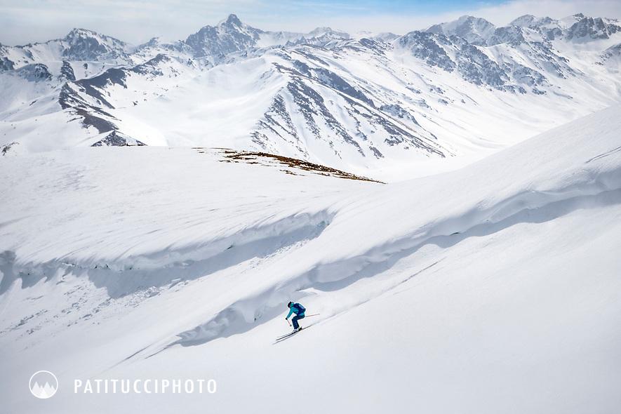 Skiing in the Suusamyr region of Kyrgyzstan