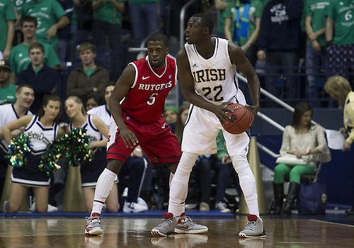 January 19, 2013:  Notre Dame guard Jerian Grant (22) and Rutgers guard Eli Carter (5) during NCAA Basketball game action between the Notre Dame Fighting Irish and the Rutgers Scarlett Knights at Purcell Pavilion at the Joyce Center in South Bend, Indiana.  Notre Dame defeated Rutgers 69-66.