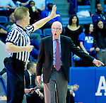 January 20, 2015 - Colorado Springs, Colorado, U.S. -  San Diego State head coach, Steve Fisher, disputes a call during a Mountain West Conference match-up between the San Diego State Aztecs and the Air Force Academy Falcons at Clune Arena, U.S. Air Force Academy, Colorado Springs, Colorado.  San Diego State defeats Air Force 77-45.