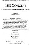 The Program for 'The Concert - A Celebration of Contemporary Musical Theatre' at The Second StageTheatre in New York City on 1/21/2013