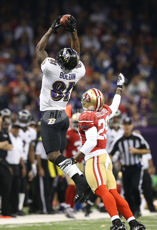 Feb 3, 2013; New Orleans, LA, USA; Baltimore Ravens wide receiver Anquan Boldin (81) catches a pass over San Francisco 49ers defensive back Chris Culliver (29) in the first quarter in Super Bowl XLVII at the Mercedes-Benz Superdome. Mandatory Credit: Mark J. Rebilas-