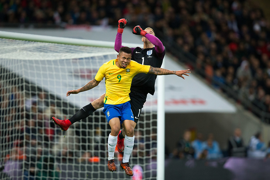 Brazil&rsquo;s Gabriel Jesus competes in the air with England's Joe Hart <br /> <br /> Photographer Craig Mercer/CameraSport<br /> <br /> The Bobby Moore Fund International - England v Brazil - Tuesday 14th November 2017 Wembley Stadium - London  <br /> <br /> World Copyright &copy; 2017 CameraSport. All rights reserved. 43 Linden Ave. Countesthorpe. Leicester. England. LE8 5PG - Tel: +44 (0) 116 277 4147 - admin@camerasport.com - www.camerasport.com