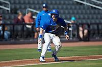 Erikson Nichols (42) of the Duke Blue Devils takes his lead off of third base against the Coastal Carolina Chanticleers at Segra Stadium on November 2, 2019 in Fayetteville, North Carolina. (Brian Westerholt/Four Seam Images)