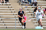 20 February 2016: Florida's Lindsey Ronbeck (14) is chased by North Carolina's Caroline Wakefield (6). The University of North Carolina Tar Heels hosted the University of Florida Gators in a 2016 NCAA Division I Women's Lacrosse match. Florida won the game 16-15.