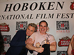 Edge of Night Martin Kove (L) with Kenneth Del Vecchio's Hoboken International Film Festival - 13th year in Greenwood Lake, New York - at the opening night Gala on May 18, 2018  (Photo by Sue Coflin/Max Photo)