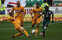 Keith Lasley blocking the shot of Ibrahim Sissoko in the Motherwell v Panathinaikos UEFA Champions League 3rd Qualifying Round 1st Leg match at Fir Park, Motherwell on 31.7.12.