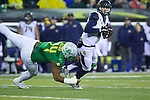 Oct 07, 2015; Eugene, OR, USA; Oregon Ducks defensive lineman DeForest Buckner (44) makes an ankle sack on California Golden Bears quarterback Jared Goff (16) at Autzen Stadium. <br /> Photo by Jaime Valdez