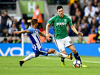 Brighton &amp; Hove Albion's Anthony Knockaert (left) battles with West Bromwich Albion's Gareth Barry (right) <br /> <br /> Photographer David Horton/CameraSport<br /> <br /> The Premier League - Brighton and Hove Albion v West Bromwich Albion - Saturday 9th September 2017 - The Amex Stadium - Brighton<br /> <br /> World Copyright &copy; 2017 CameraSport. All rights reserved. 43 Linden Ave. Countesthorpe. Leicester. England. LE8 5PG - Tel: +44 (0) 116 277 4147 - admin@camerasport.com - www.camerasport.com