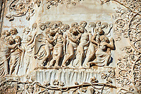 Bas-relief sculpture panel scene from the Last Judgment by Maitani around 1310 on the14th century Tuscan Gothic style facade of the Cathedral of Orvieto, Umbria, Italy