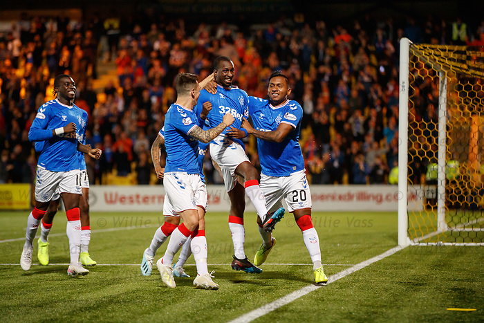 25.09.2018 Livingston v Rangers: Glen Kamara celebrates his goal