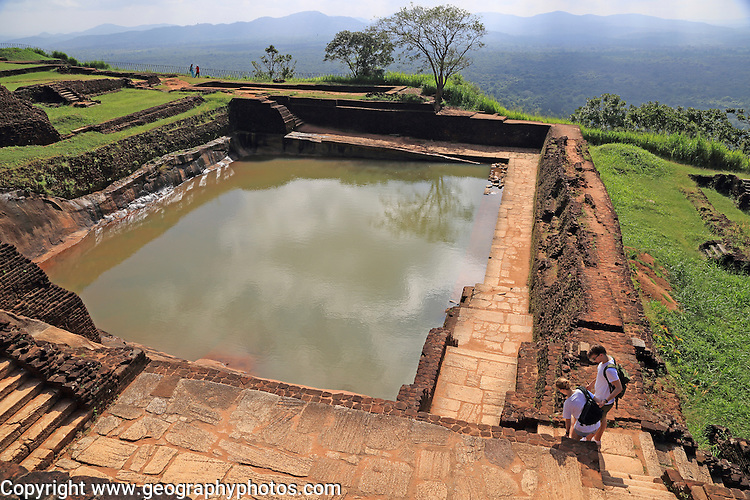 Bathing pool in rock palace fortress on rock summit, Sigiriya, Central Province, Sri Lanka, Asia