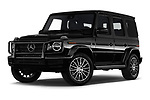 Stock pictures of low aggressive front three quarter view of a 2019 Mercedes Benz G-Class G-550 5 Door SUV
