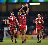 The Georgia team acknowledge the crowd after the match. Rugby World Cup Pool C match between New Zealand and Georgia on October 2, 2015 at the Millennium Stadium in Cardiff, Wales. Photo by: Patrick Khachfe / Onside Images