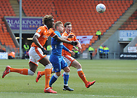 Peterborough United's Louis Reed vies for possession with Blackpool's Armand Gnanduillet and Matthew Virtue<br /> <br /> Photographer Kevin Barnes/CameraSport<br /> <br /> The EFL Sky Bet League One - Blackpool v Peterborough United - Saturday 13th April 2019 - Bloomfield Road - Blackpool<br /> <br /> World Copyright &copy; 2019 CameraSport. All rights reserved. 43 Linden Ave. Countesthorpe. Leicester. England. LE8 5PG - Tel: +44 (0) 116 277 4147 - admin@camerasport.com - www.camerasport.com