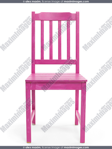 Purple wooden chair isolated on white background