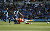 Blackpool's Joe Dodoo is hauled down by Wycombe Wanderers' Adam El-Abd<br /> <br /> Photographer Kevin Barnes/CameraSport<br /> <br /> The EFL Sky Bet League One - Wycombe Wanderers v Blackpool - Saturday 4th August 2018 - Adams Park - Wycombe<br /> <br /> World Copyright &copy; 2018 CameraSport. All rights reserved. 43 Linden Ave. Countesthorpe. Leicester. England. LE8 5PG - Tel: +44 (0) 116 277 4147 - admin@camerasport.com - www.camerasport.com
