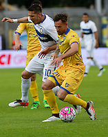 Stevan Jovetic and  Daniel Plavovic  during the  italian serie a soccer match,between Frosinone and Inter      at  the Matusa   stadium in Frosinone  Italy , April 09, 2016