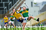 Kerry Barry John Keane and Sean McDermott  Roscommon challenge for the kick out during their NFKL Div 1 clash in Fitzgerald Stadium on Sunday