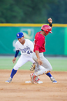 Oscar Mercado (4) of the Johnson City Cardinals steals second base ahead of the tag by Burlington Royals shortstop Marten Gasparini (44) at Burlington Athletic Park on July 14, 2014 in Burlington, North Carolina.  The Cardinals defeated the Royals 9-4.  (Brian Westerholt/Four Seam Images)