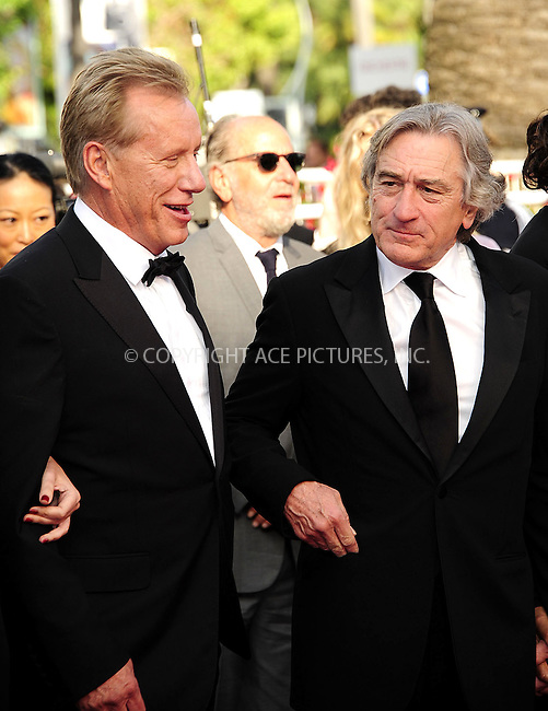 WWW.ACEPIXS.COM . . . . .  ..... . . . . US SALES ONLY . . . . .....May 18 2012, Cannes....James Woods and Robert De Niro at the 'Once Upon A Time' premiere at the 65th Annual Cannes Film Festival during at Palais des Festivals on May 18, 2012 in Cannes, France.....Please byline: FAMOUS-ACE PICTURES... . . . .  ....Ace Pictures, Inc:  ..Tel: (212) 243-8787..e-mail: info@acepixs.com..web: http://www.acepixs.com
