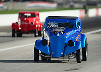 Aug. 31, 2012; Claremont, IN, USA: NHRA AA/GS driver Ron Bizio during qualifying for the US Nationals at Lucas Oil Raceway. Mandatory Credit: Mark Rebilas-