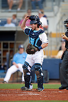 Charlotte Stone Crabs catcher Zacrey Law (17) during a game against the Dunedin Blue Jays on June 5, 2018 at Charlotte Sports Park in Port Charlotte, Florida.  Dunedin defeated Charlotte 9-5.  (Mike Janes/Four Seam Images)