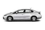 Car Driver side profile view of a 2014 Honda Civic Hybrid Hybrid CVT 4 Door Sedan Side View