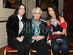 kathleen O'Brien celebrating her 90th birthday in The Pheasant with great grandchildren Ashley O'Brien, Grace Byrne and Oisin Ennis. Photo:Colin Bell/pressphotos.ie