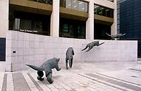 1998 File Photo - Quebec (qc) CANADA - Le Quatuor d'airain , 1995-1996  bronze sculpture by Lucienne Payant-Cornet