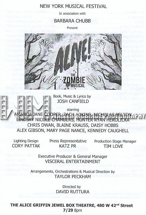 "New York Musical Festival production of  ""Alive! The Zombie Musical"" at the Alice Griffin Jewel Box Theatre on July 29, 2019 in New York City."