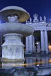 Evening view of fountain outside the Vatican. Rome, Italy