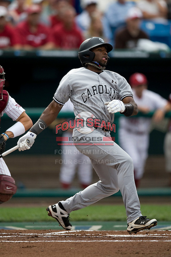 South Carolina's Jackie Bradley Jr. in Game 3 of the NCAA Division One Men's College World Series on Sunday June 20th, 2010 at Johnny Rosenblatt Stadium in Omaha, Nebraska.  (Photo by Andrew Woolley / Four Seam Images)