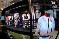 Eric Wynalda, USA National Team Head Coach Bob Bradley, National Soccer Hall of Fame member Walter Bahr, and Phil Dickinson during the unveiling of the USA Men's National Team new uniform at Niketown in NYC, NY, on April 29, 2010.