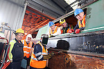 SSE Barge Restoration.L-R: Bev Friend (SSE), Wyn Mitchell (Monmouth, Brecon and Abergavenny Canal Trust), Dave Binding (SSE), Roger Francis (Monmouth, Brecon and Abergavenny Canal Trust), Malcolm White (SSE) and Richard Dommett MBE (Monmouth, Brecon and Abergavenny Canal Trust).Uskmouth Power Station.01.03.12.©STEVE POPE